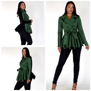 Green 2-tone Peplum Jacket